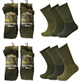 Men 6 or 12 Pairs Army Military Patrol Combat Boot High Performance Hiking Padded Thermal Warm Thick Socks