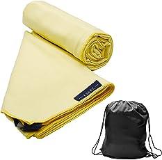 Exerz Micro XL (150 x 85 cm) in Microfibra Asciugamano da viaggio / Asciugamano per lo sportcon porta borse - Palestra - Camping - Piscina - Yoga - Spiaggia - Vacanza - Bagno, Altamente Assorbente Compatto e leggero antibatterico e ad asciugatura rapida - multicolore