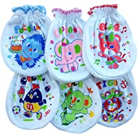 Fancyadda New Born Baby Soft Cotton Mittens (White) - Pack of 6