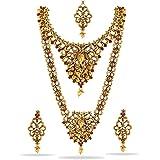 Matushri Art Brass and Necklace Set for Girls & Women (Red & Golden)