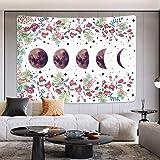 Alishomtll Wandteppich Mond Wandbehang Boho Wandtuch Abstrakte Kunst Blume Tapisserie Mondlicht Psychedelic Wanddeko für Wohn