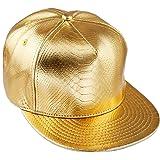 KYEYGWO PU Leather Baseball Cap for Men Women, Adjustable Flat Snapback Unisex Hip Hop Rock Punk Hats