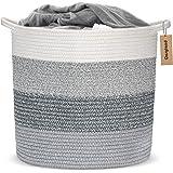 COSYLAND Panier à Linge en Corde de Coton 40x37cm XL Panier de Rangement avec poignée pour couvertures oreillers et Jouets Sa