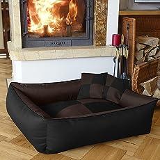 Petitude Square Shape Reversable Dual Ethenic Designed Velvet Bed for Dog and Cat, XXL(Brown Black)