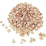 200 Piezas Estrellas de Madera en Blanco Rebanadas de Madera Mini Adornos de Estrella para Manualidades Boda DIY, 4 Tamaños M