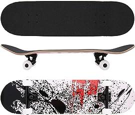 Chigant Skateboard Komplett Board Funboard 82x22cm mit 7-lagigem Ahornholz und ABEC-7 Kugellager 90A Rollenhärte, für Kinder, Jugendliche und Erwachsene, 4 Farben wählbar