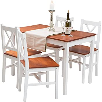 d426e5823d6 YAKOE Solid Pine Wood Table and 4 Chairs Set Kitchen Dining Furniture