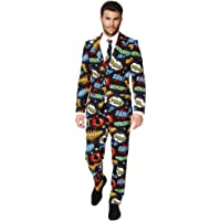 OppoSuits Men's Crazy Prom Suits Badaboom – Comes with Jacket, Pants and Tie in Funny Designs, 36