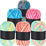 6 Pièces 50g Fil de Crochet Fil à Tricoter Multicolore en Acrylique Fils à Tricoter à Main Fil de Tissage (Rose, Jaune Vert,