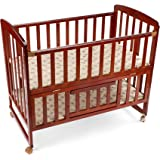 LuvLap C-50 Baby Wooden Cot (Cherry Red, Large) With Mattress