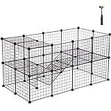 SONGMICS Enclos réglable pour Petits Animaux et Cochon d'Inde 2 étages avec Marteau en Caoutchouc Adapté à l'enclos intérieur Assemblage Flexible 143 x 73 x 71 cm (L x l x h) Noire LPI02H