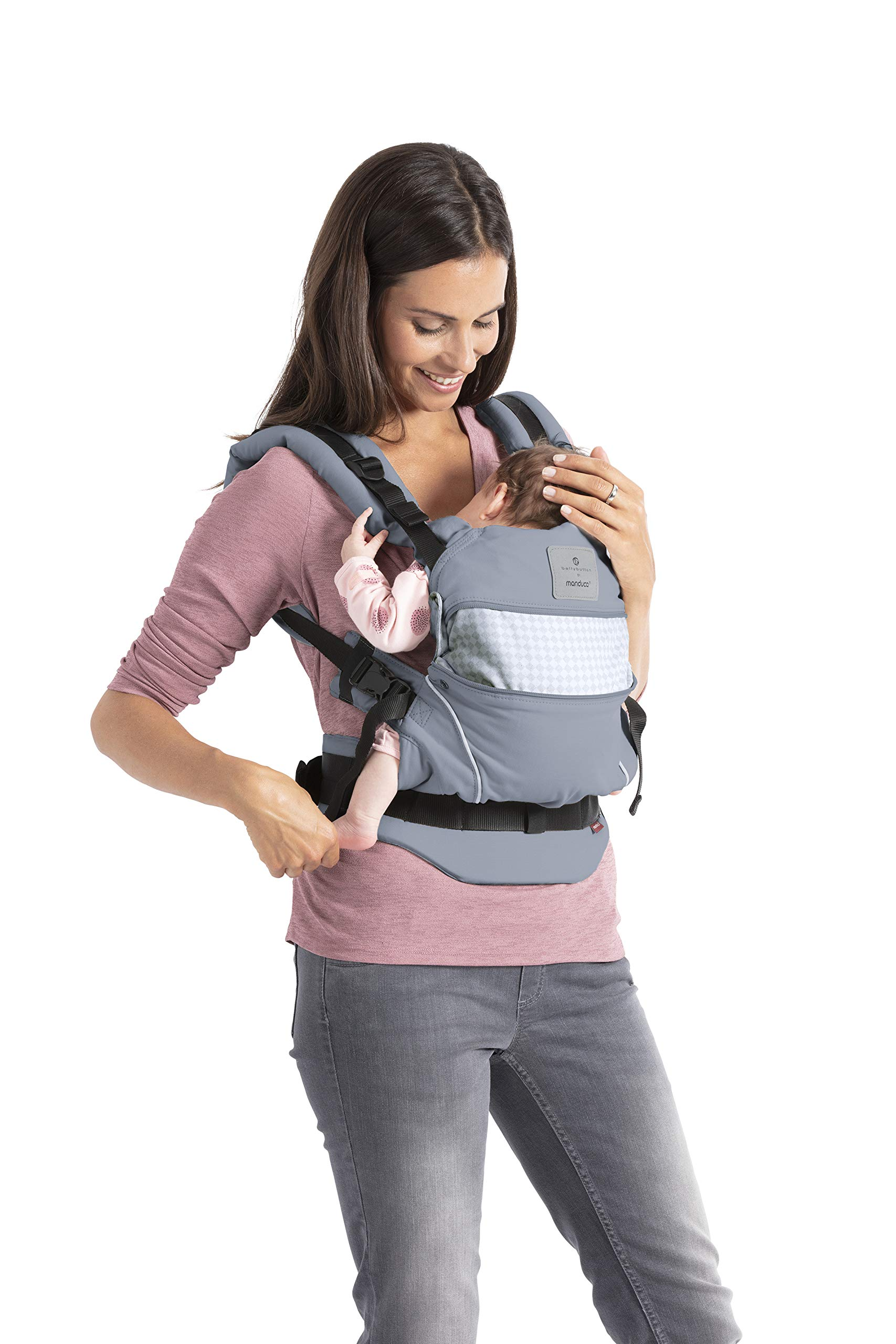 manduca First Baby Carrier > Bellybutton by manduca Edition, SoftCheck Blue < Child Carrier with Ergonomic Waist Belt & Patented Back Extension, Newborn to Toddler Manduca Trendy design in typical Bellybutton look, fine checked pattern on elegant grey, premium baby carrier made from 100% soft organic cotton with optimised finish, does not attract lint. Already integrated: seat reducer, stowable head and neck support, patented back extension, recommended accessories for newborns: Size-It (bridge reducer) and ZipIn ellipse. Ergonomic design for parents: anatomically shaped, dimensionally stable hip belt (up to 140 cm), 3-way adjustable soft padded shoulder straps, relieves the back and distributes the weight. 3