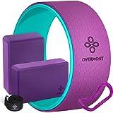 OVERMONT 5-in-1 set yoga-starterset, 1 yogawiel, 2 yogablokken, 1 riem, 1 verlengring premium rugrol voor Dharma yoga, backbe