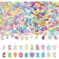 Cheriswely, 880 ciondoli a forma di lettere dell'alfabeto opache, colorati e opachi, per gioielli fai da te, bracciali…