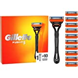 Gillette Fusion5 Men's Razor + 11 Refill Blades with 5 Anti-Friction Blades