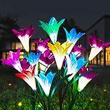 LED Solar Flower Lights IP65 Waterproof Solar Garden Lights Solar Path Lights, 8-Head Multi-Color Changing Solar Lily Flower