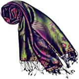 Lorenzo Cana Pashmina - Sciarpa in tessuto jacquard 100% seta, motivo cachemire, in seta, multicolore, 70 x 190 cm