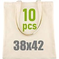 D.RECT - Lot de 10 Sacs en Coton Naturel avec Long Manche  38x42 cm,100% Coton  Sac à provisions  Sacs en toile de jute…