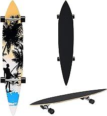 [pro.tec] Longboard (116 x 22 x 12 cm)(ABEC 7 - Kugellager) (orange - schwarz - blau - Surfermotiv) Skateboard / Surfer board / Retro board /
