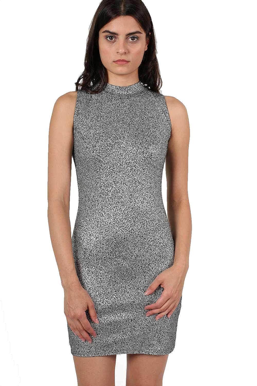 03de406738ee Pilot Matilda High Neck Metallic Detail Sleeveless Bodycon Dress Silver   Amazon.in  Clothing   Accessories
