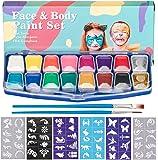 HENMI Kinderschminke Face Paint Set -14 Farben Schminkpalette,2 Glitzer,60 Schablonen,2 Pinsel Kinder Schminkset Ideal für Kinder Partys Mädchen & Fasching für Kinder Schminke,Körperfarben
