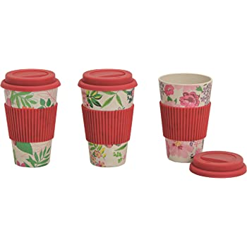 Coffe To Go Becher Bambus 3er Set Mit Deckel Bamboo 400 Ml Rot