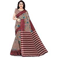 SOURBH Women's Cotton Blend Saree With Unstiched Blouse Piece