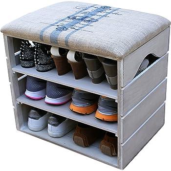 Meuble Chaussures, Coffre Banc de Rangement pour Chaussures, avec ÉTAGÈRES  en Bois Premium Vintage 4b3f5b5b5dd6