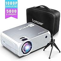 Vidéoprojecteur Supporté 1080P Full HD, BOMAKER Mini Projecteur 5000 Lumens Native 720P, 50000 Heures Rétroprojecteur Compatible HDMI/VGA/SD/USB/AV avec Trépied et Sac- GC555 Upgraded