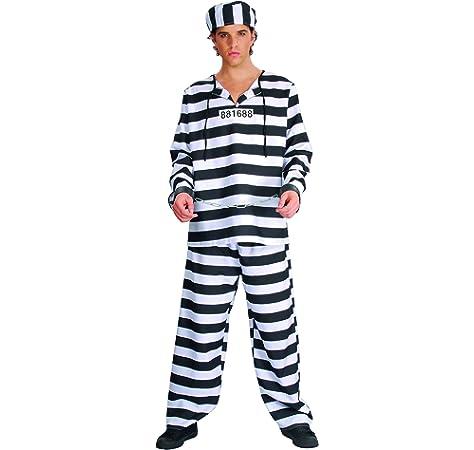 Costume da prigioniero bianco e nero per adulti U00309