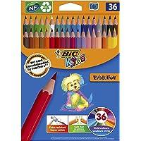 BIC Kids Evolution ECOlutions Crayons de Couleur - Couleurs Assorties, Etui Carton de 36