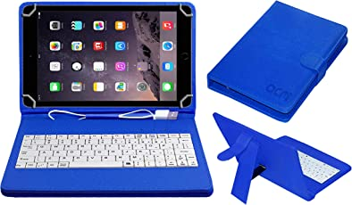 ACM USB Keyboard Case for Apple Ipad Air 2 A1567 Tablet Cover Stand with Free Micro USB OTG - Blue