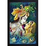 SAF Radhe Krishna UV Coated Home Decorative Gift Item Framed Painting 14 inch X 20 inch SANFSA07J