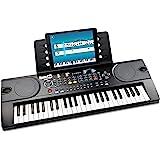 Pianoforte RockJam con tastiera a 49 tasti con alimentatore, supporto per spartiti, adesivi per note per pianoforte e lezioni