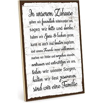 Typestoff Holzschild Mit Spruch Familie Regeln Hausordnung