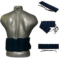 Cuscino con noccioli di ciliegia (65x15cm, blu scuro, 7 compartimenti con banda da legare) Cuscino termico, Fascia…
