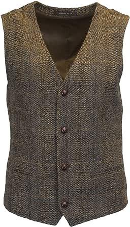 Walker and Hawkes Walker & Hawkes - Mens Classic Scottish Harris Tweed Herringbone Overcheck Country Waistcoat, Brown,Clinton Brown, 38