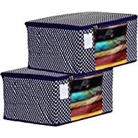 Home Style India Cotton Saree Cover/Saree Bag/Storage Bag with Transparent Window, Extra Large (PACK OF 2, Blue)
