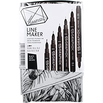 Derwent 2302206 Graphik Line Maker Drawing Pens - Black, Pack of 6 ...