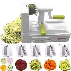 Brieftons Spiralschneider mit 5 Klingen (BR-5B-02): Starke und schwerste Gemüse-Spiralschneider, beste Veggie Pasta Spaghetti Maker für Low Carb/Paleo/Glutenfrei, mit extra Klingenhalter und 4 Rezept-ebooks