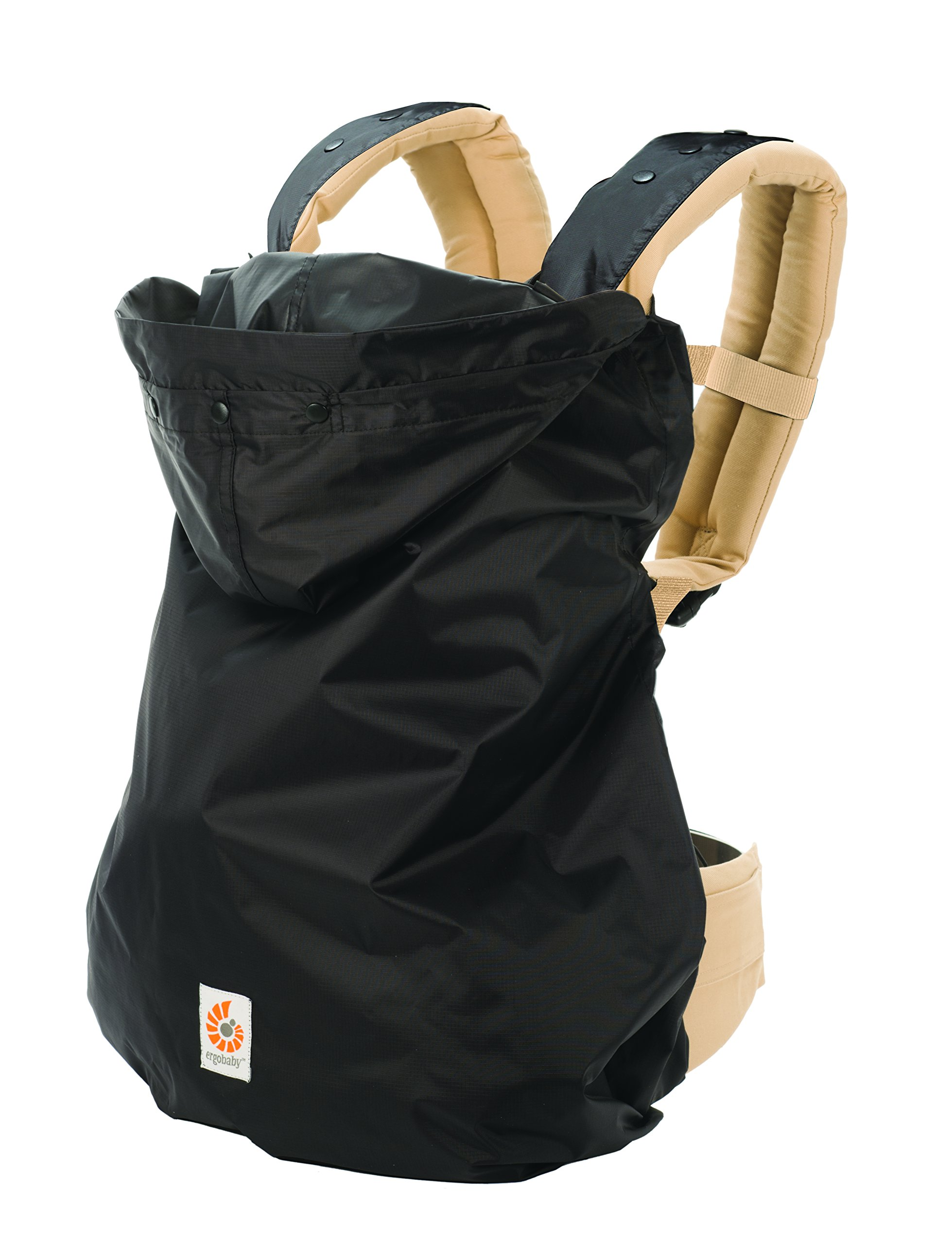 Ergobaby Rain Cover (Black) Ergobaby 100% Polyester water resistant ripstop fabric Snaps attach Rain Cover to the carrier at shoulder straps Elasticized hood 1