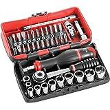"""Facom R2NANO zeshoek Socket Set Plus Bits in plastic koffer, 1/4"""" aandrijving, 5.5mm-14mm, 38 stuks"""