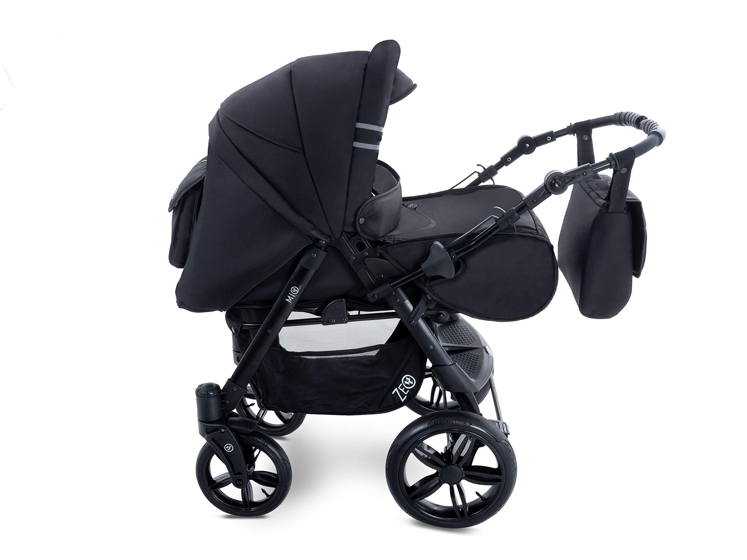 Baby Pram Zeo Mio 3in1 Set - All You Need! carrycot Gondola Buggy Sport Part Pushchair car seat (M1)  3 in 1 combination stroller complete set, with reversible handle to the buggy, child car seat or baby carriage Has 360 ° swiveling wheels, two-fold suspension, four-stage backrest, five-position adjustable footrest and a five-point safety belt The stroller can be easily converted into other functions and easy to transport 3