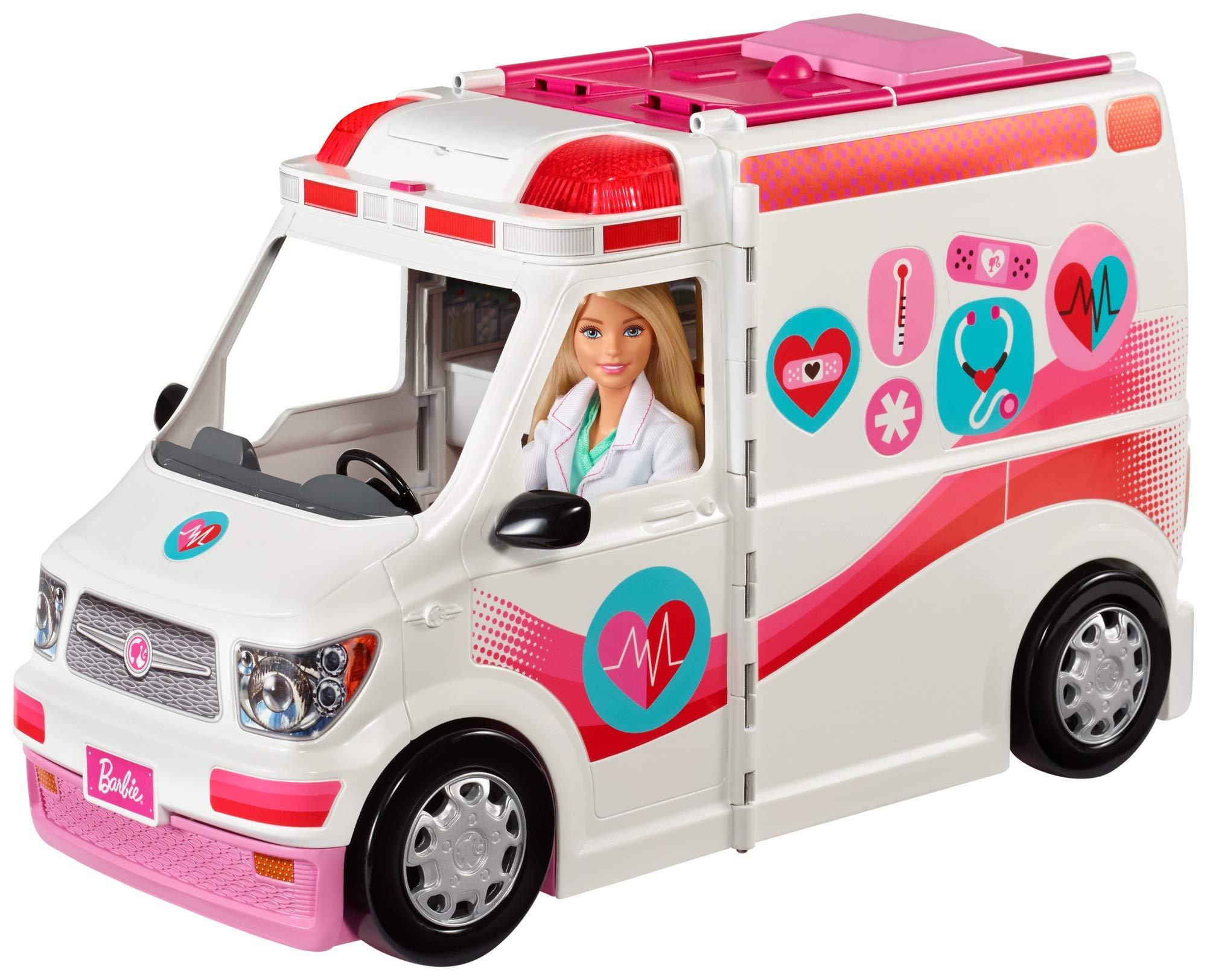 Barbie FRM19 - 2-in-1 Krankenwagen, aufklappbares Fahrzeug mit Licht und Geräuschen, Puppen Spielset mit Zubehör…