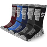 YUEVO SPORTS Men's Athletic Socks Breathable Wicking Cotton Cushion Crew Work Socks Trekking Walking Socks 5/Pack