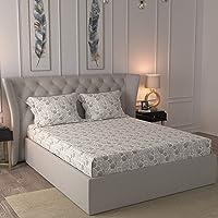 Maspar Gardenia 200TC Cotton Neutral King Bedsheet with 2 Pillow Covers