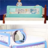 Kiddale Bedrail : Extra Long (6X2.2 Ft) Foldable Safety Guard for Baby-Blue