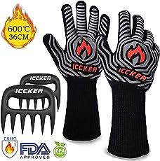 ICCKER Grillhandschuhe BBQ Handschuhe, Rutschfeste Hitzebeständig bis 600°C (1112°F)/36CM/1Paar Ofenhandschuhe Topfhandschuhe Backhandschuhe für Grill Kochen Backen Schweißen