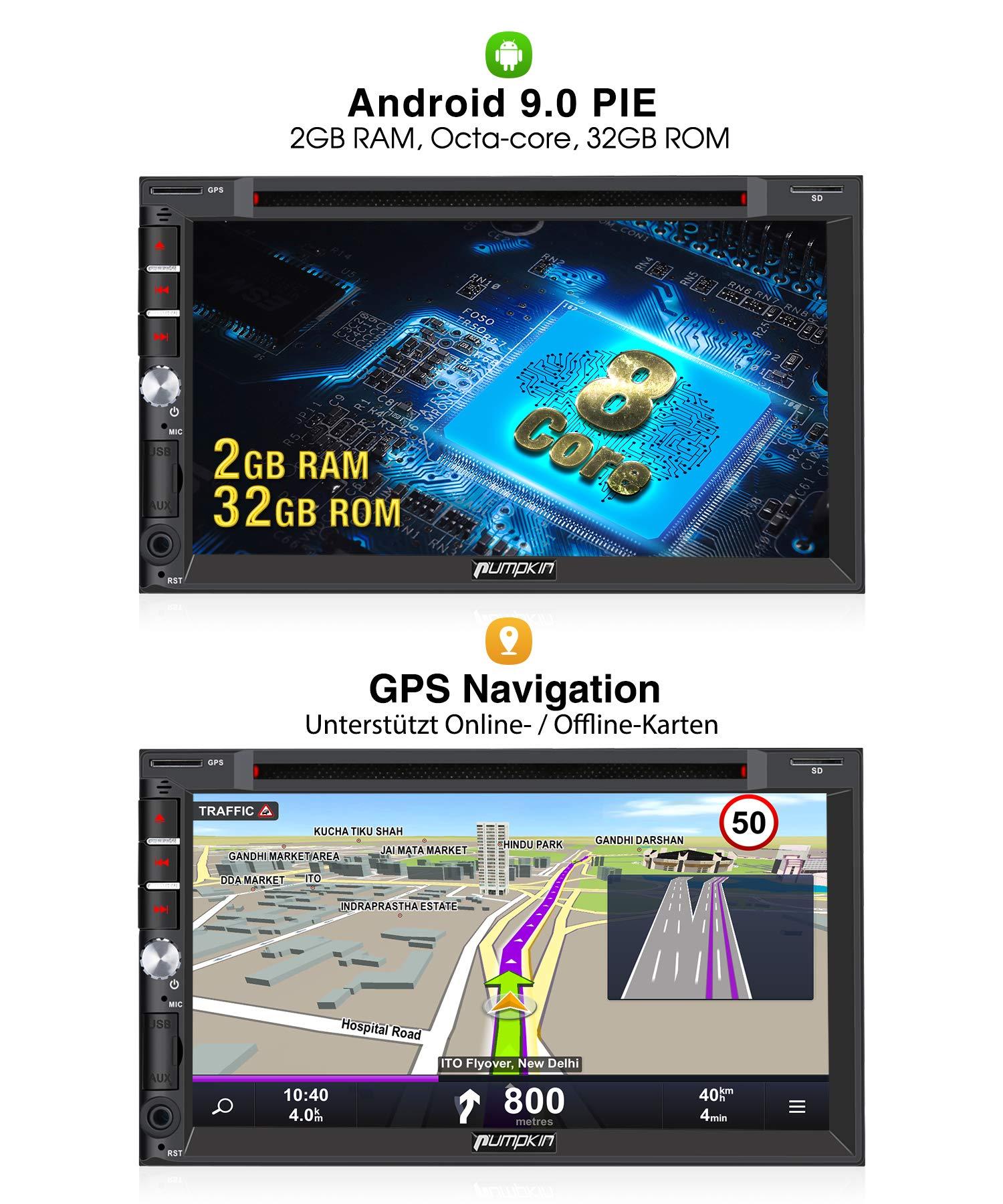 PUMPKIN-Android-90-Autoradio-Radio-mit-Navi-16GB-Europakarten-2019-DVD-Player-Untersttzt-Bluetooth-DAB-CD-Android-Auto-WiFi-4G-USB-MicroSD-2-Din-7-Zoll-Bildschirm-Universal