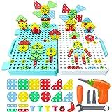 Beinhome 316 Pcs Mosaique Enfant Puzzle 3D Jeux de Construction Kit Jeu Montessori Bricolage de Éducatifs avec Perceuse Tourn